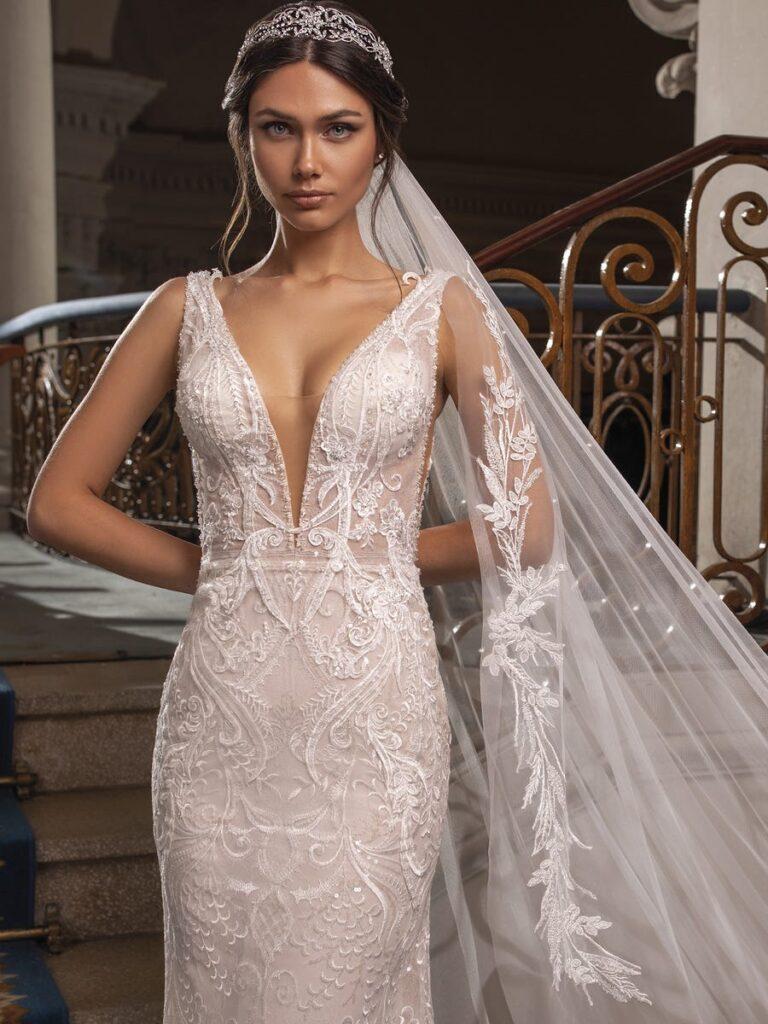 Stunning white wedding dress plunge neckline